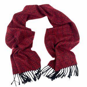 Fendi Vtg Red Black Synthetic Wool Fringed Scarf